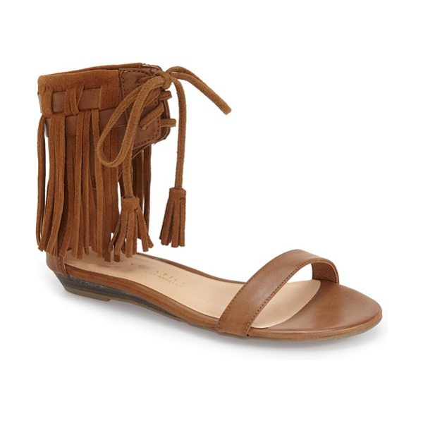 Very Volatile aubrey fringe lace-up sandal in tan faux leather - Soft fringe furthers the boho-chic vibe of a carefree...