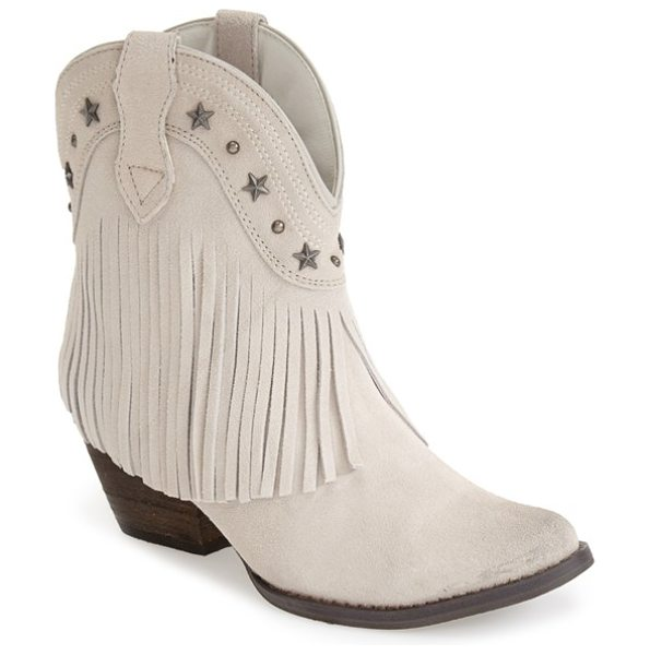 Very Volatile deerwood fringe western boot in khaki - Weathered star and dome studs accentuate the curved...
