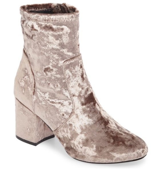 Very Volatile eclipse velvet sock bootie in taupe - Crushed velvet and an of-the-moment sock fit define a...