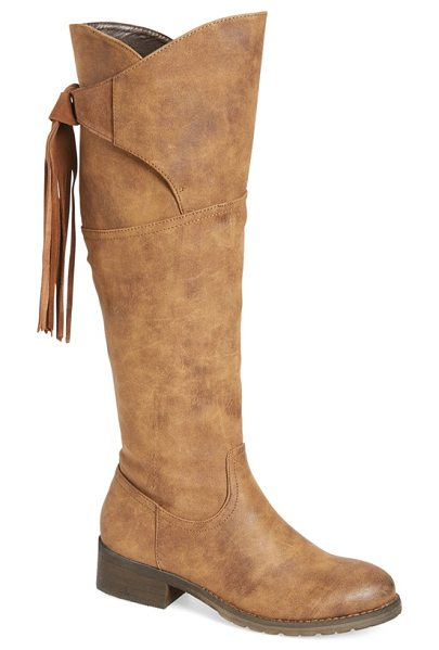 Very Volatile 'geneva' fringe boot in tan faux leather - A tall faux-leather boot is made modern thanks to a...