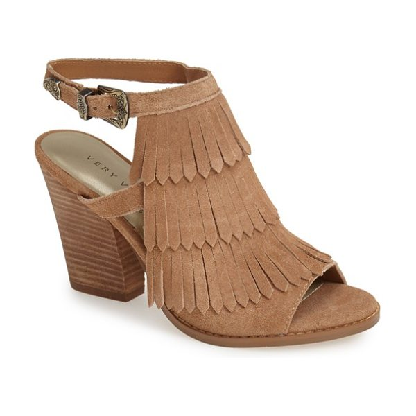 Very Volatile idea suede fringe sandal in tan - Layered fringe and a lush suede finish add plenty of...