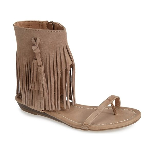 Very Volatile lex fringe sandal in taupe - Swingy fringe wraps the ankle cuff of an earthy thong...