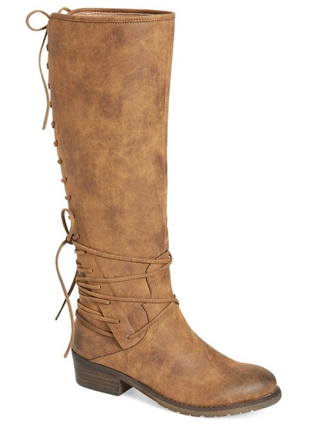 Very Volatile miraculous knee high zip boot in tan faux leather - Decorative corset-inspired lacing ladders meticulously...