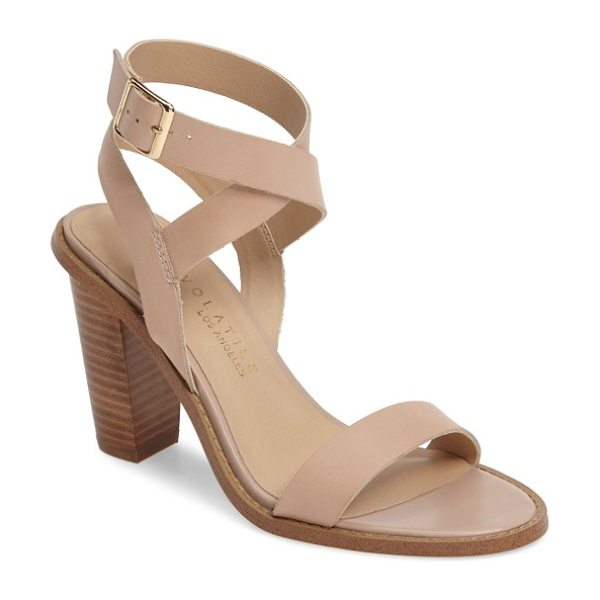 Very Volatile poshy ankle wrap sandal in nude leather - Wraparound ankle straps and a chunky stacked heel keep...