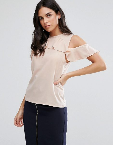 Vesper Cold Shoulder Top With Frill Detail in pink - Top by Vesper, Stretch woven fabric, Crew neck,...
