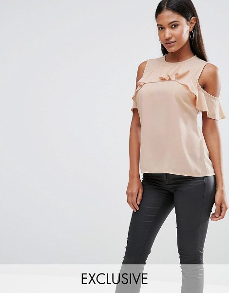 VESPER Cold Shoulder Top With Frill Detail in pink - Top by Vesper, Stretch woven fabric, Round neckline,...