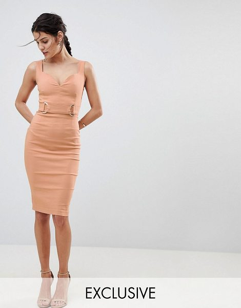 Vesper Plunge Sweetheart Pencil Dress With Rose Gold Trim In Taupe By