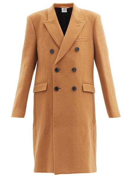 VETEMENTS double-breasted wool-blend coat in camel
