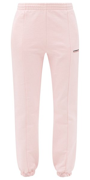 VETEMENTS haute couture logo-embroidered jersey track pants in light pink