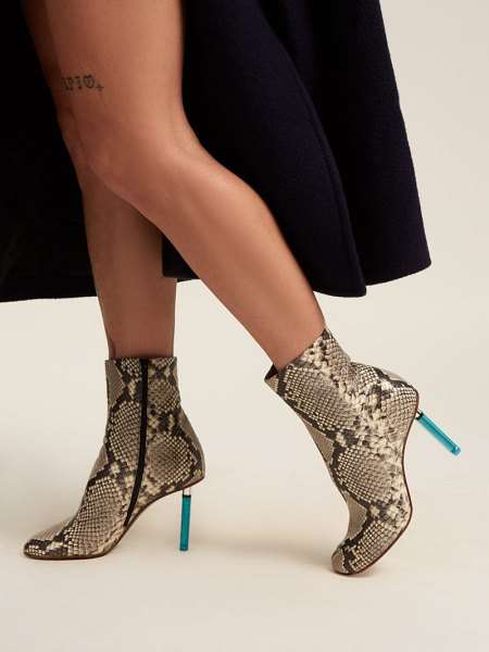 VETEMENTS python effect lighter heel leather ankle boots in python