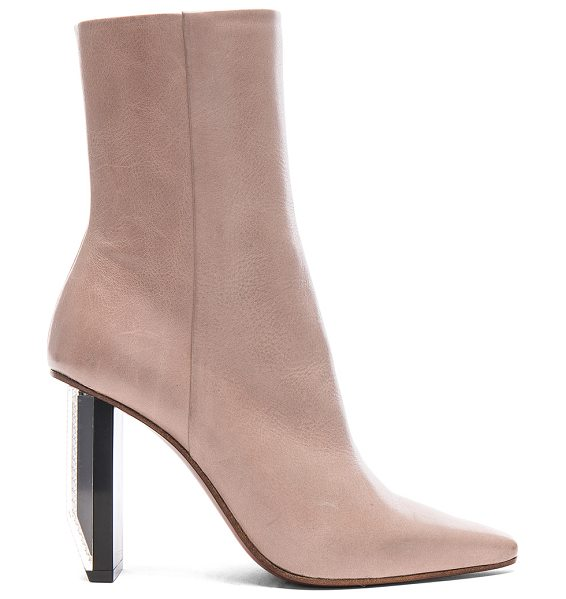 VETEMENTS Reflector Heel Leather Ankle Boots in neutrals - Leather upper and sole.  Made in Italy.  Shaft measures...