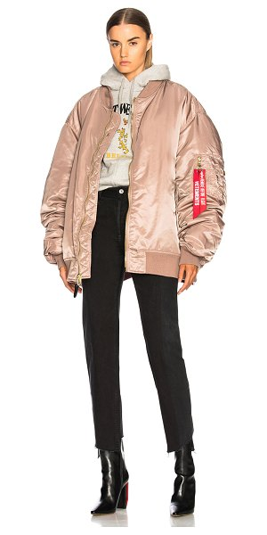 VETEMENTS Reversible Bomber Jacket in rose & pink - Self & Lining: 100% polyPadding: 100% poly. Made in USA....