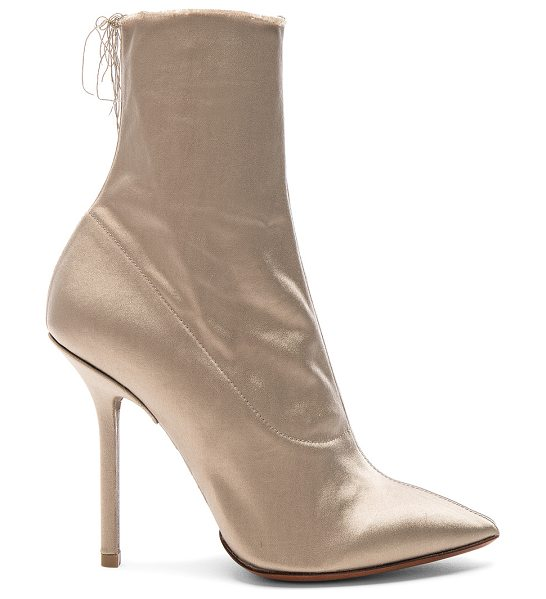 VETEMENTS Satin Ankle Boots in gray - Satin upper with leather sole.  Made in Italy.  Shaft...