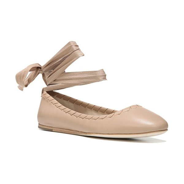 Via Spiga baylie tie ballet flat in nude leather - Wrap-around laces at the ankle and whipstitched trim...