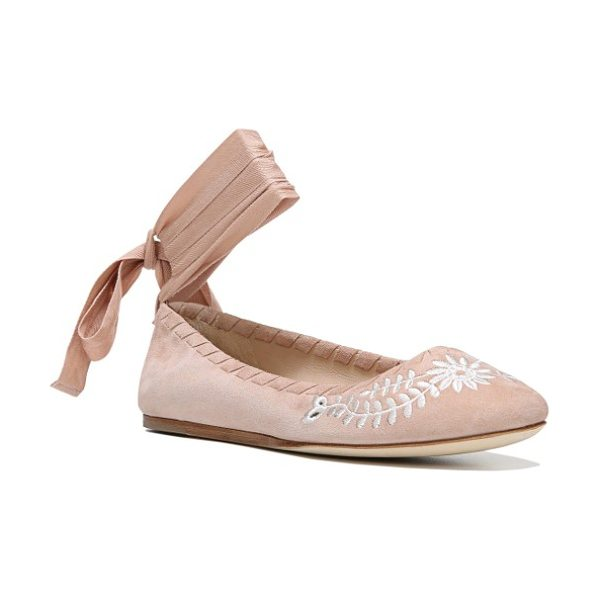 Via Spiga baylie tie ballet flat in blush suede - Wrap-around laces at the ankle and whipstitched trim...
