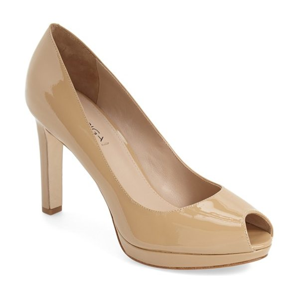 Via Spiga 'brandy' peep toe pump in nude patent - A svelte pump shaped from supple leather is fitted with...