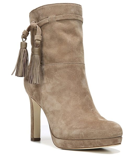 Via Spiga 'bristol' tassel boot in dark taupe suede - Bold leather tassels wrapping the fitted cuff add an...