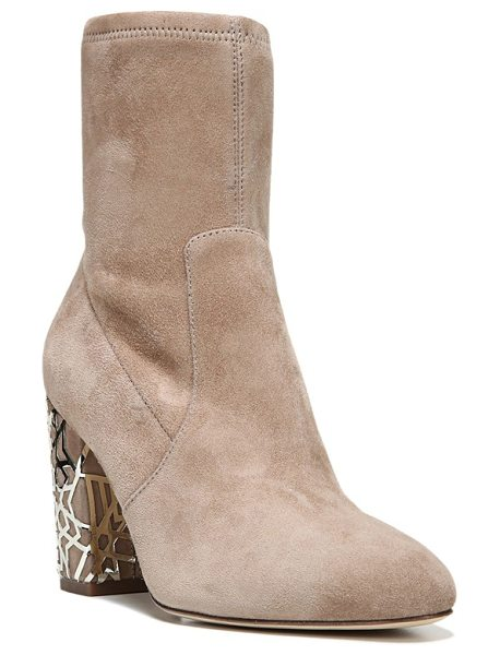 Via Spiga 'daisie' caged heel bootie in taupe suede - The quintessential bootie goes modern with a chunky heel...