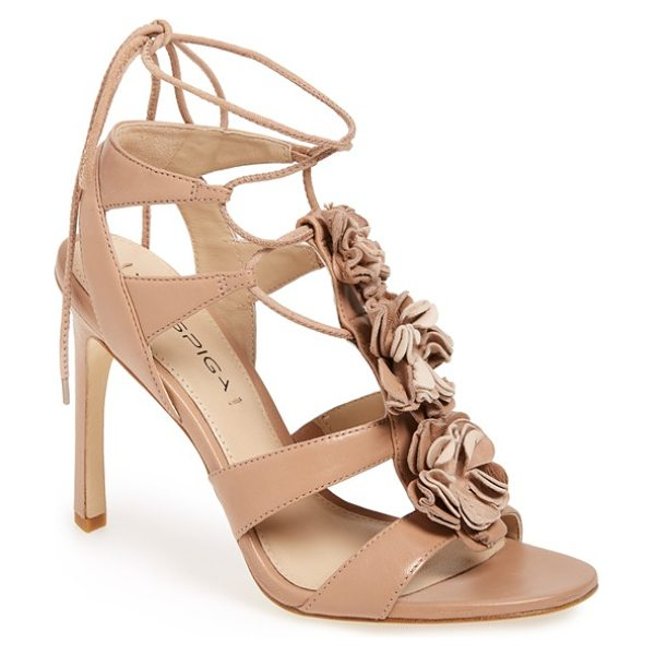 Via Spiga deedee rosette lace-up sandal in blush nappa - A blooming rosette trio traipses down the center strap...
