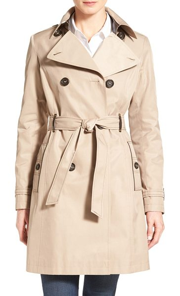 VIA SPIGA double breasted trench with faux leather trim in sand - Luxe faux leather accents with golden grommets elevate...