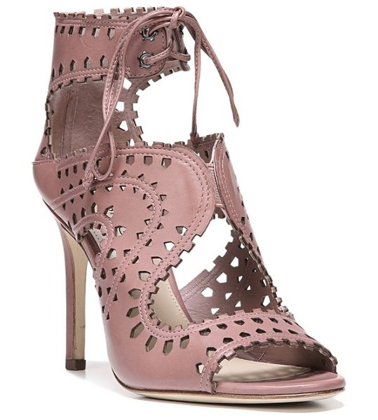 Via Spiga 'elysia' perforated sandal in dusty rose leather - Striking geometric cutouts along the curvaceous straps...
