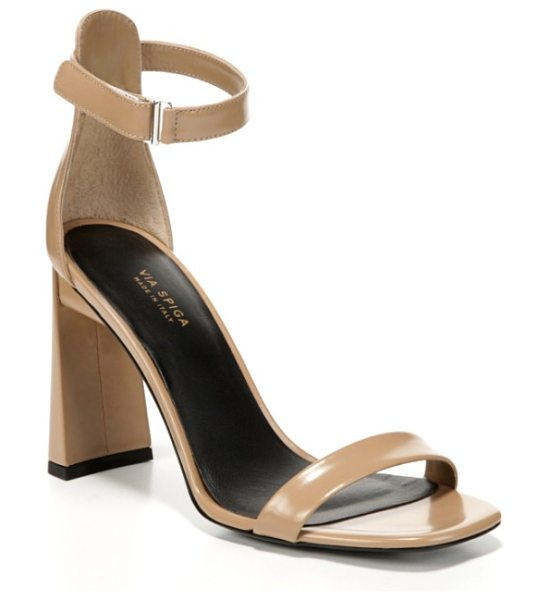 Via Spiga faxon ankle strap sandal in desert leather - A tapered, architectural heel lifts a contemporary...