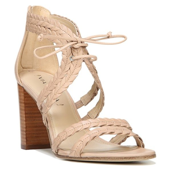 Via Spiga gardenia lace-up sandal in nude leather - Braided leather straps enhance the summery appeal of a...
