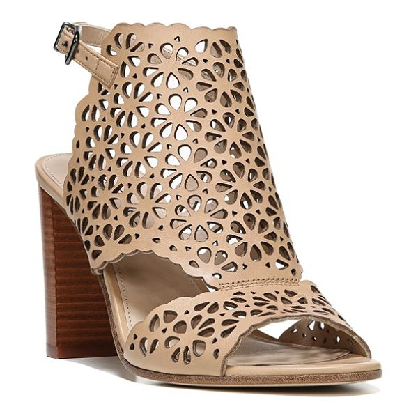 Via Spiga garnet perforated ankle strap sandal in nude leather - Laser-cut floral perforations pattern a breezy leather...