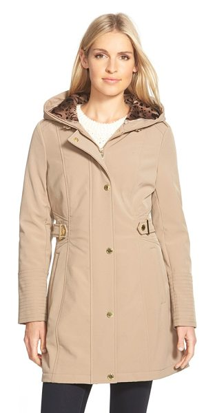 Via Spiga hooded soft shell coat with animal print lining in camel - Gleaming goldtone hardware, channel-stitch detailing and...