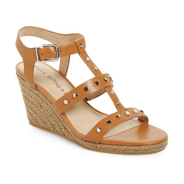 Via Spiga indya studded wedge sandal in british tan calf - Gleaming studs punctuate the sultry T-strap of a chic...