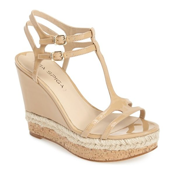 Via Spiga meza leather dual ankle strap platform wedge in nude - Glossy patent leather, woven jute and cork play...