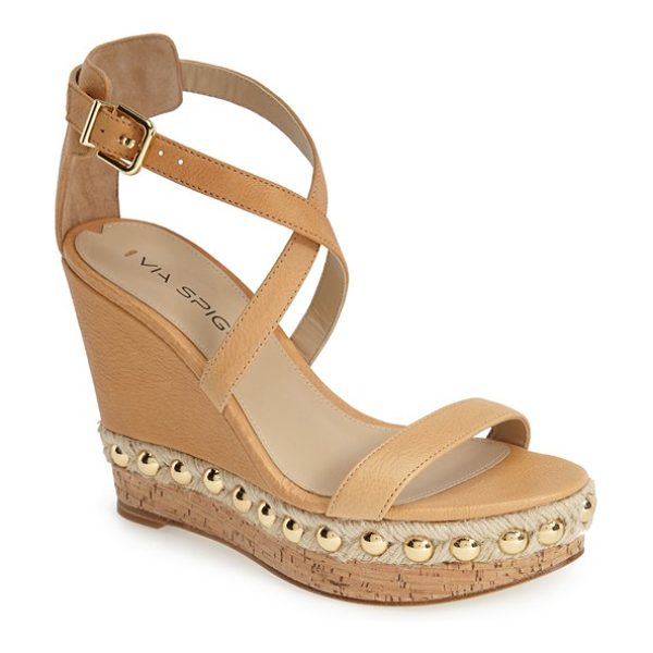 VIA SPIGA moss studded platform wedge sandal - Gleaming metallic studs highlight the rich,...