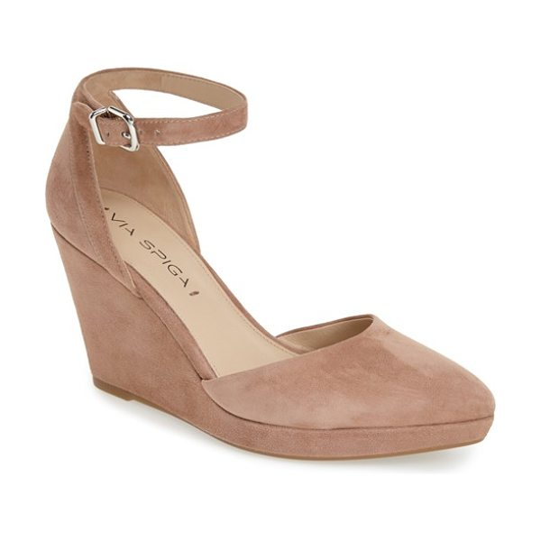 VIA SPIGA nalo wedge sandal in desert suede - A slim wedge heel lifts a sleek d'Orsay sandal fitted...