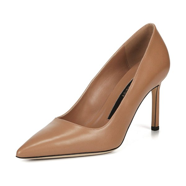 Via Spiga Nikole Leather Point-Toe Pumps in beige