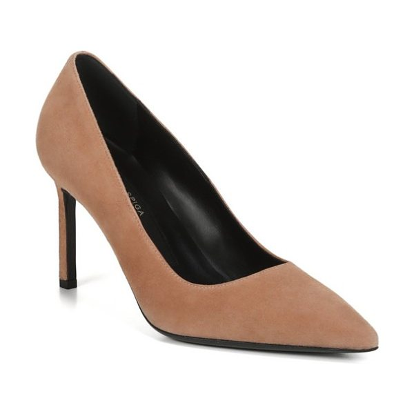 Via Spiga nikole pointy toe pump in nude suede - The classically elegant lines of a pointy-toe pump...