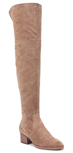 Via Spiga 'ophira' over the knee boot in dark taupe - A gorgeous boot styled with a stable block heel features...