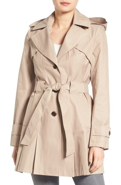 Via Spiga petite   'scarpa' hooded single breasted trench coat in new sand - Pleats at the front and back hem add swingy style to a...