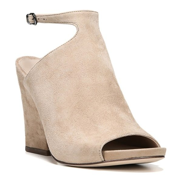 Via Spiga 'prim' ankle strap sandal in camel suede - A contemporary ankle-strap silhouette and curvy heel...