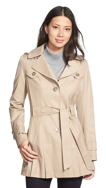 Via Spiga scarpa single breasted hooded trench coat in sand - Pleats at the front and back hem add swingy style to a...