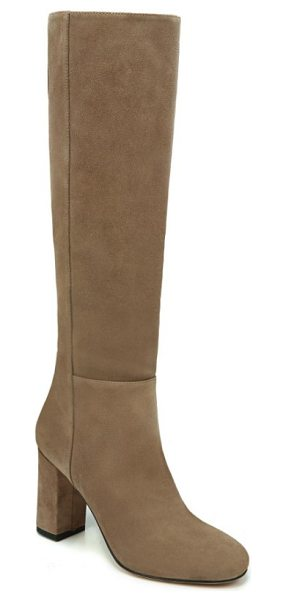 Via Spiga starie boot in dark taupe suede - A covered block heel lifts a sophisticated boot in a...