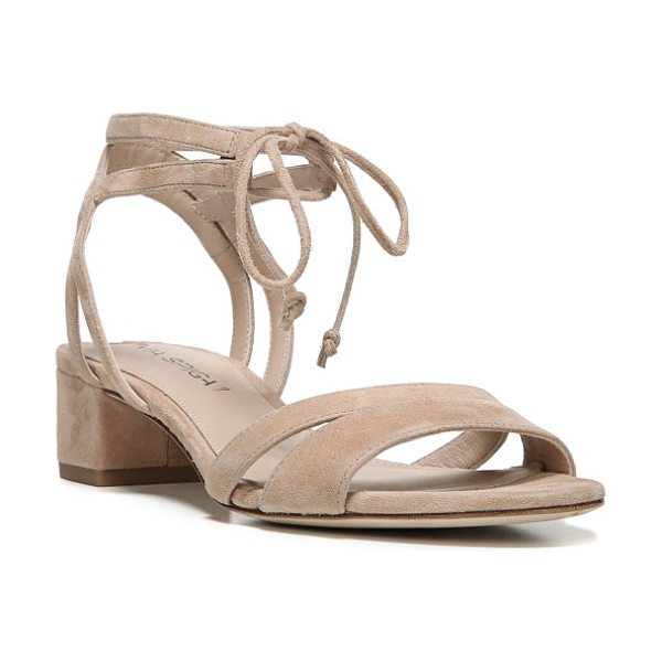 Via Spiga taryn block heel sandal in nude suede - A low block heel adds trend-right lift to a strappy...