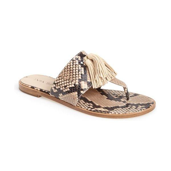 Via Spiga terrin snake embossed leather sandal in natural - A go-with-anything thong sandal goes modern with...