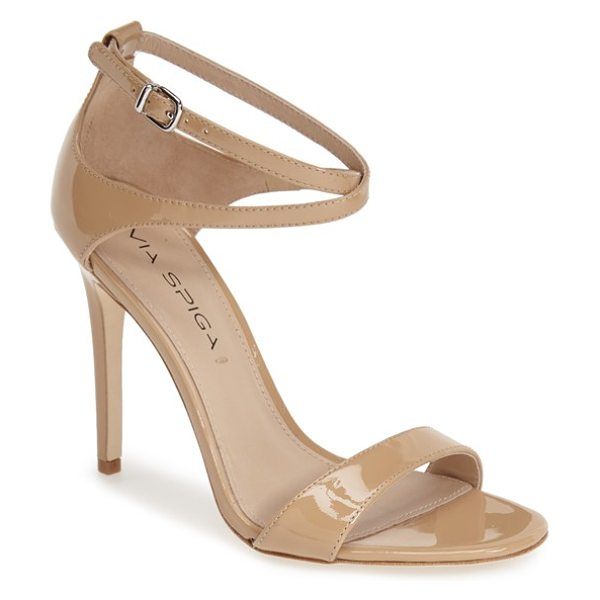 Via Spiga tiara sandal in nude patent leather - Slim crossed ankle straps refine a high-heeled sandal...