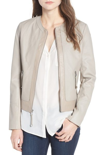 Via Spiga two-tone collarless leather & ponte jacket in clay