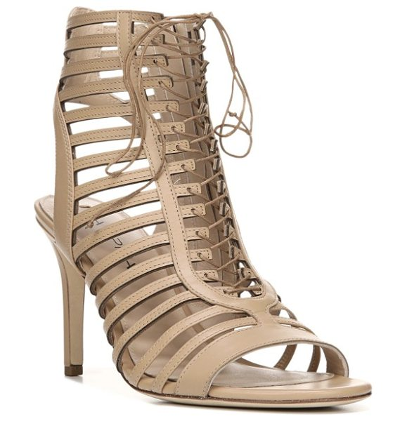VIA SPIGA valena lace-up cage sandal in nude leather - Ghillie-style lacing ladders up the front of a...