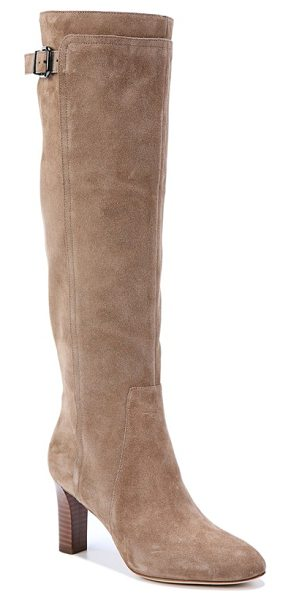 VIA SPIGA 'parca' knee high boot in dark taupe suede - A substantial heel and vertical seaming reinforce this...