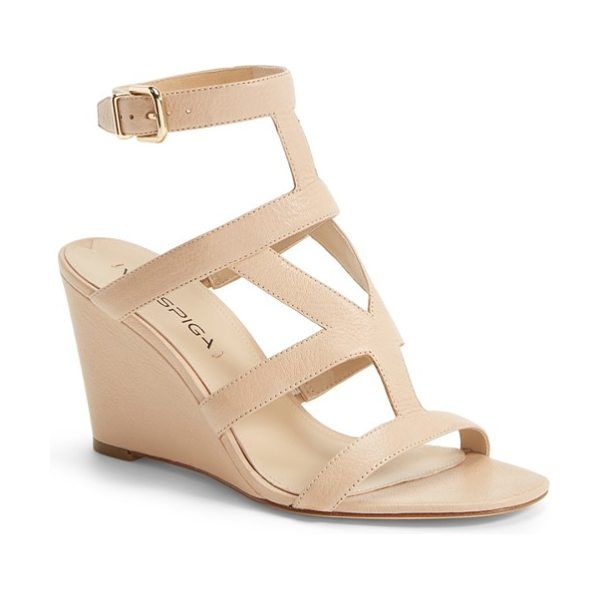 Via Spiga winda leather ankle strap wedge sandal in nude - Smart geometric cutouts detail the pebbled-leather upper...