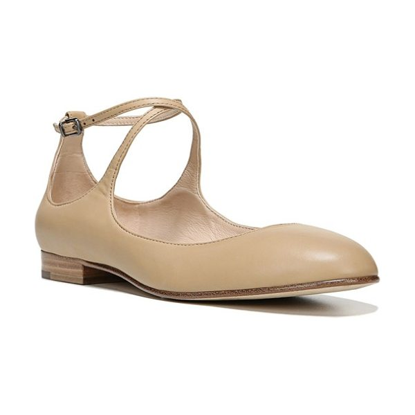Via Spiga yovela ankle strap flat in nude leather - Slender, wraparound ankle straps detail an essential...