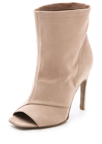 VIC MATIE Open toe stiletto booties in nude - Soft nubuck and a slouchy, wide cut shaft bring a...
