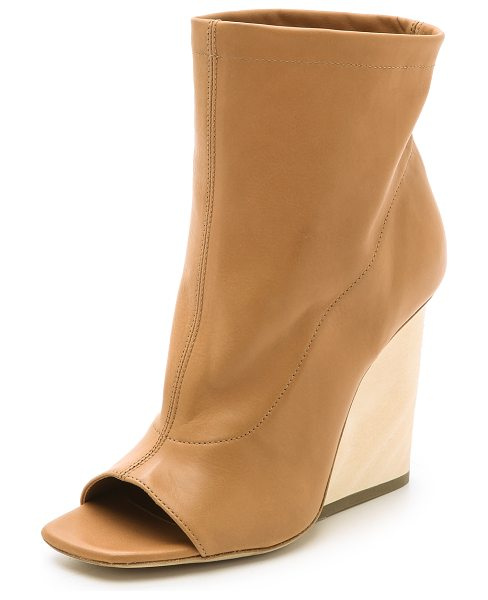 VIC MATIE Wedge open toe booties in camel - Soft leather and a slouchy, wide cut shaft bring a...